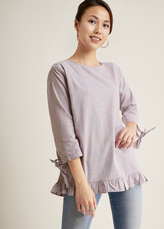Light Grey color Tops and Tunics . Ismitta Sleeve Blouse -