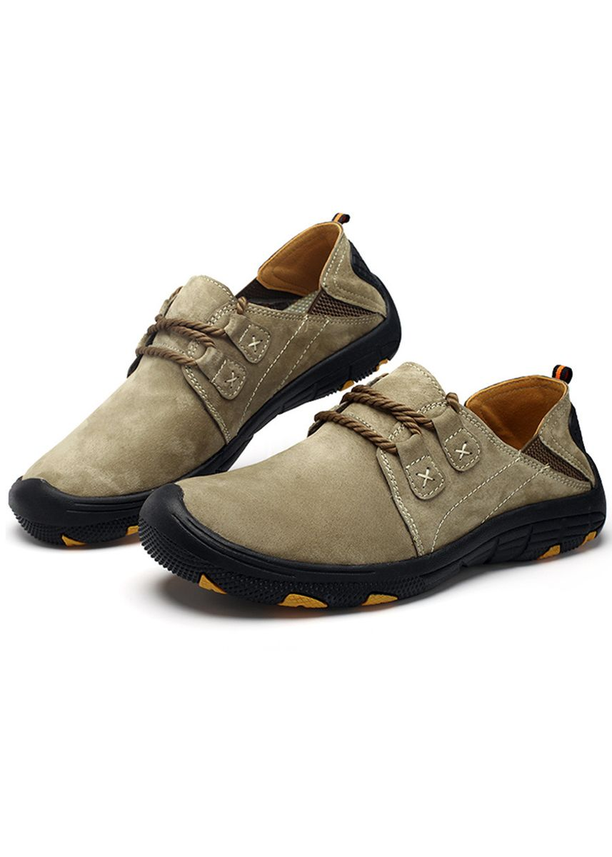 Khaki color Casual Shoes . Men's Leather Anti-Collision Head Simple Hiking Shoes -