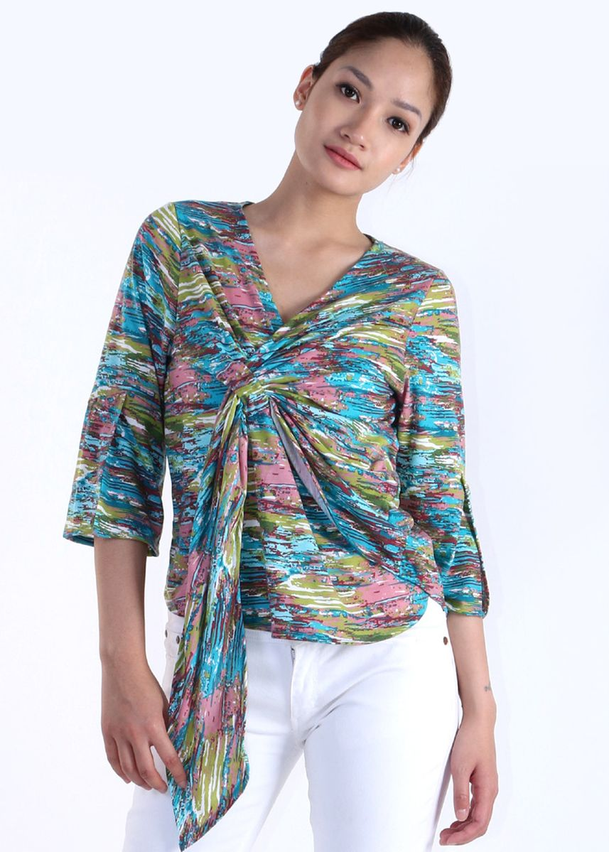 Hijau color Atasan & Tunik . Wrap Blouse Abstract -
