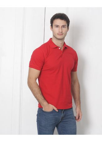 Red color T-Shirts and Polos . Men's People's Pride Polo Shirt Plain (Red) -