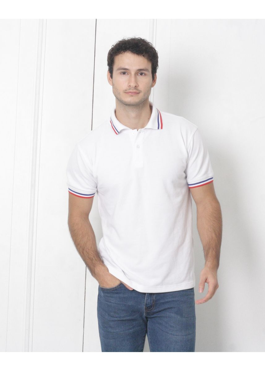 White color T-Shirts and Polos . Men's People's Pride Polo Shirt White w/Tipping Design (RB&R) -