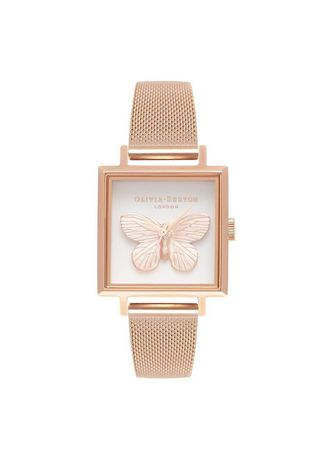 Pink color Analog . Olivia Burton 3D Butterfly Rose Gold 22.5Mm Women's Watch -