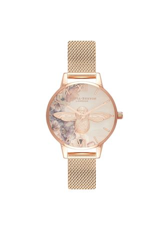 Pink color Analog . Watercolor Florals Rose Gold 30mm Women's Watch -