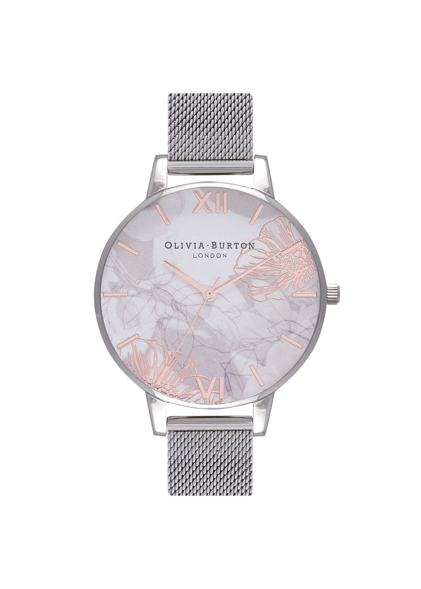 Silver color Analog . Abstract Florals Silver 38 Mm Women's Watch -