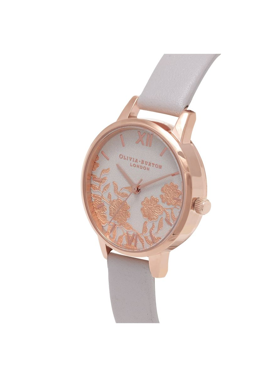 Pink color Analog . Lace Detail Rose-Gold 30 Mm Women's Watch -