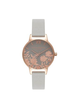 Grey color Analog . Lace Detail Rose-Gold 30 Mm Women's Watch -