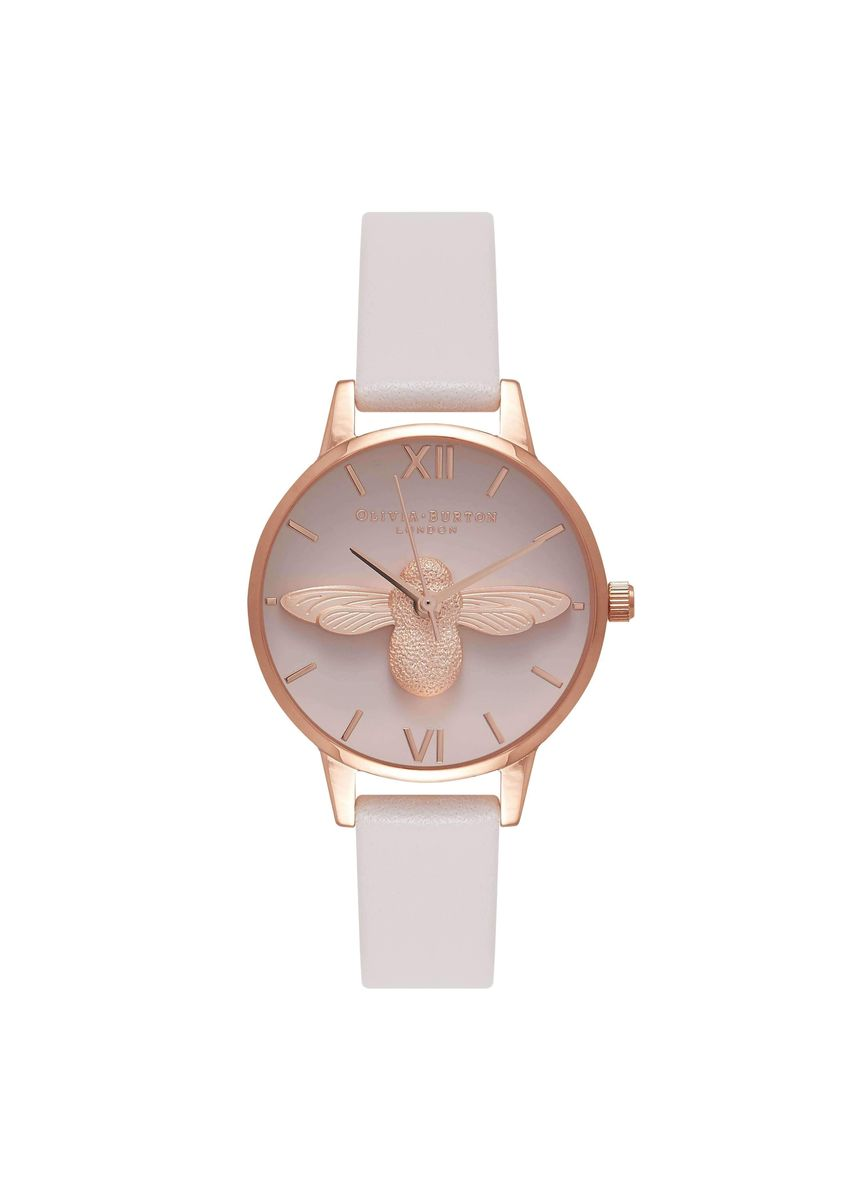 Pink color Analog . 3D Bees Rose-Gold 30 Mm Women's Watch -