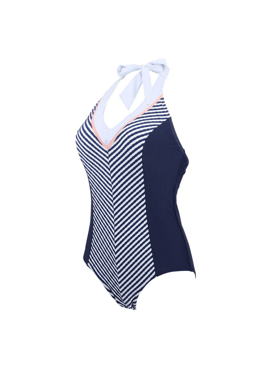 Blue color Beachwear/Swimwear . Hanging Neck Type Stripe Swimsuit -