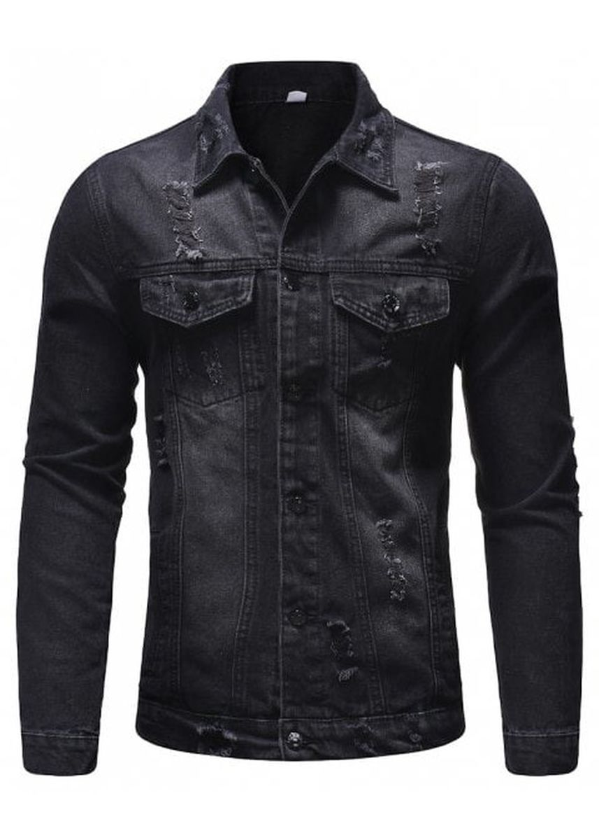 Black color Jackets . Men's Jeans Holes Beggars Thick Jackets -