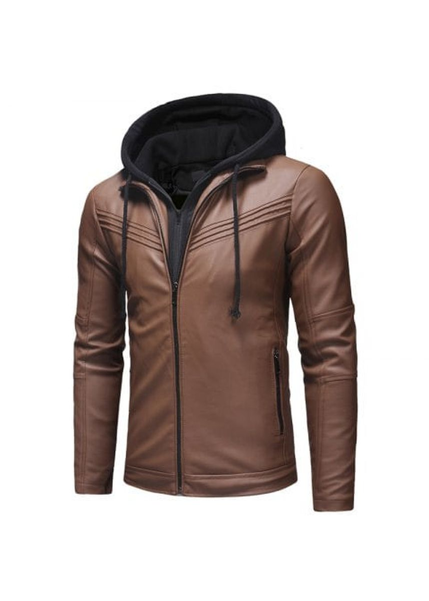 Black color Jackets . Fashion Pleated Design Men's Casual Slim Zipper Hooded Leather Jacket Leather -