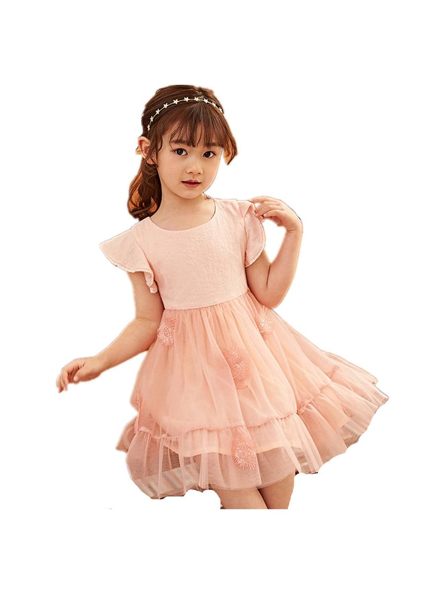 Pink color Dresses . Girls' Solid Ruffle Sleeve Dress -