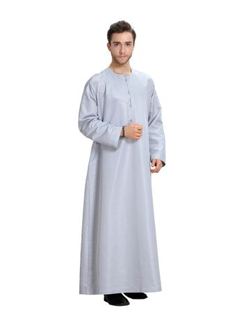 Grey color Koko . Fashion Pure Color Men's Muslim Robe -