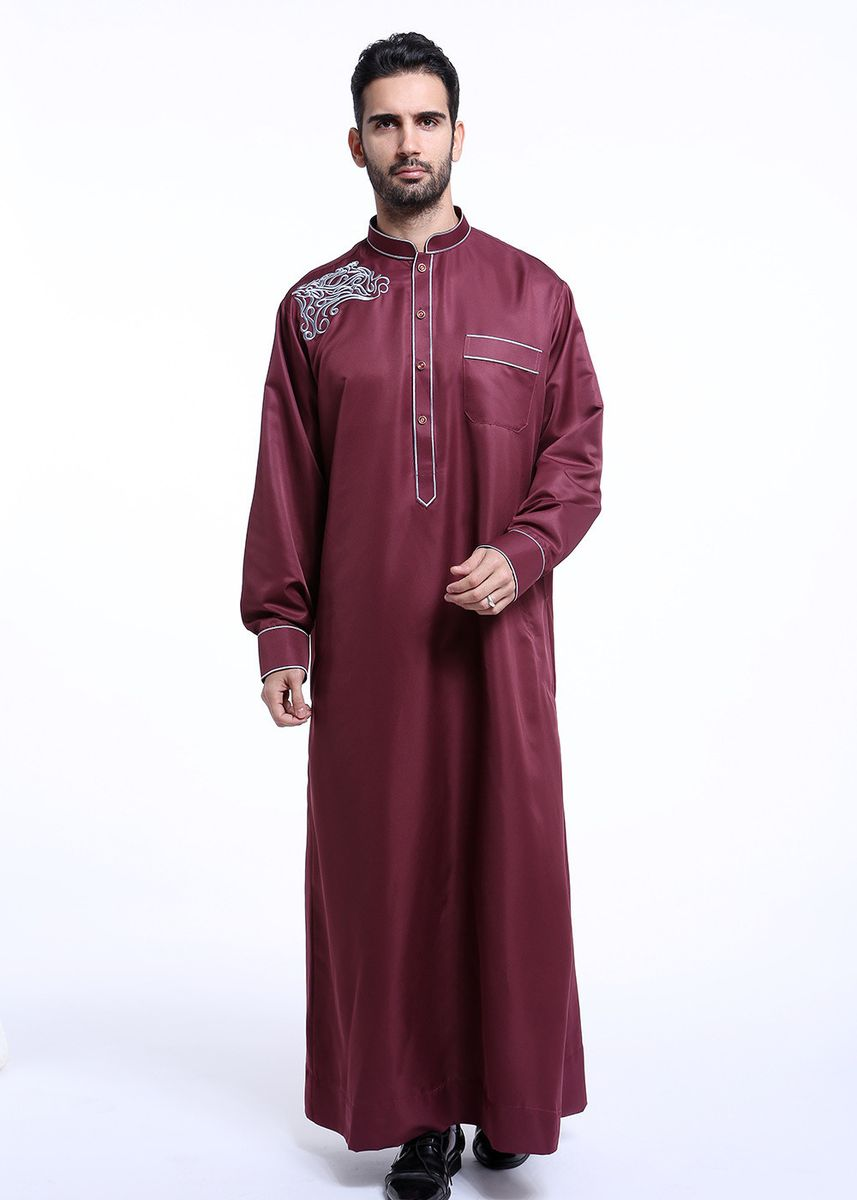 แดง color Koko . Fashion Muslim Solid Robe -