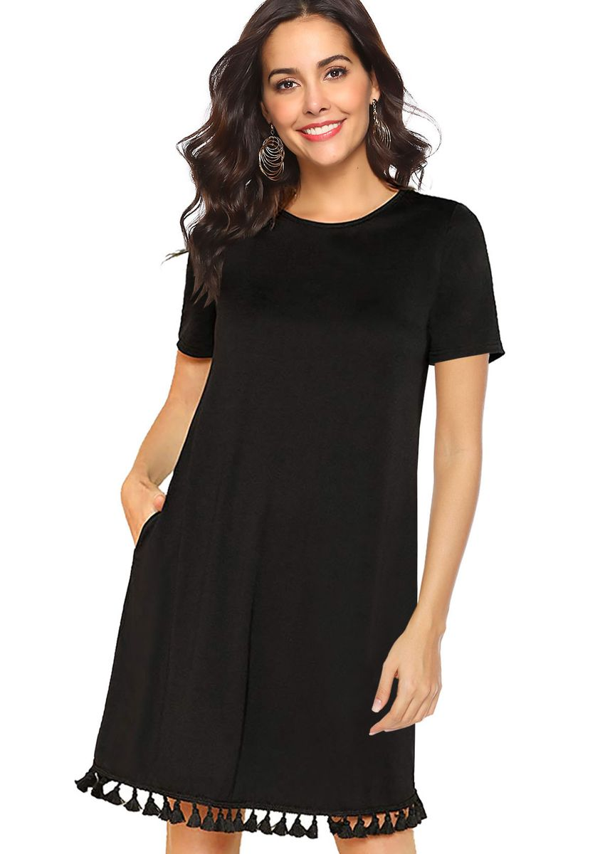 Black color Dresses . Fashion Solid Loose Fringed Pocket Dress -