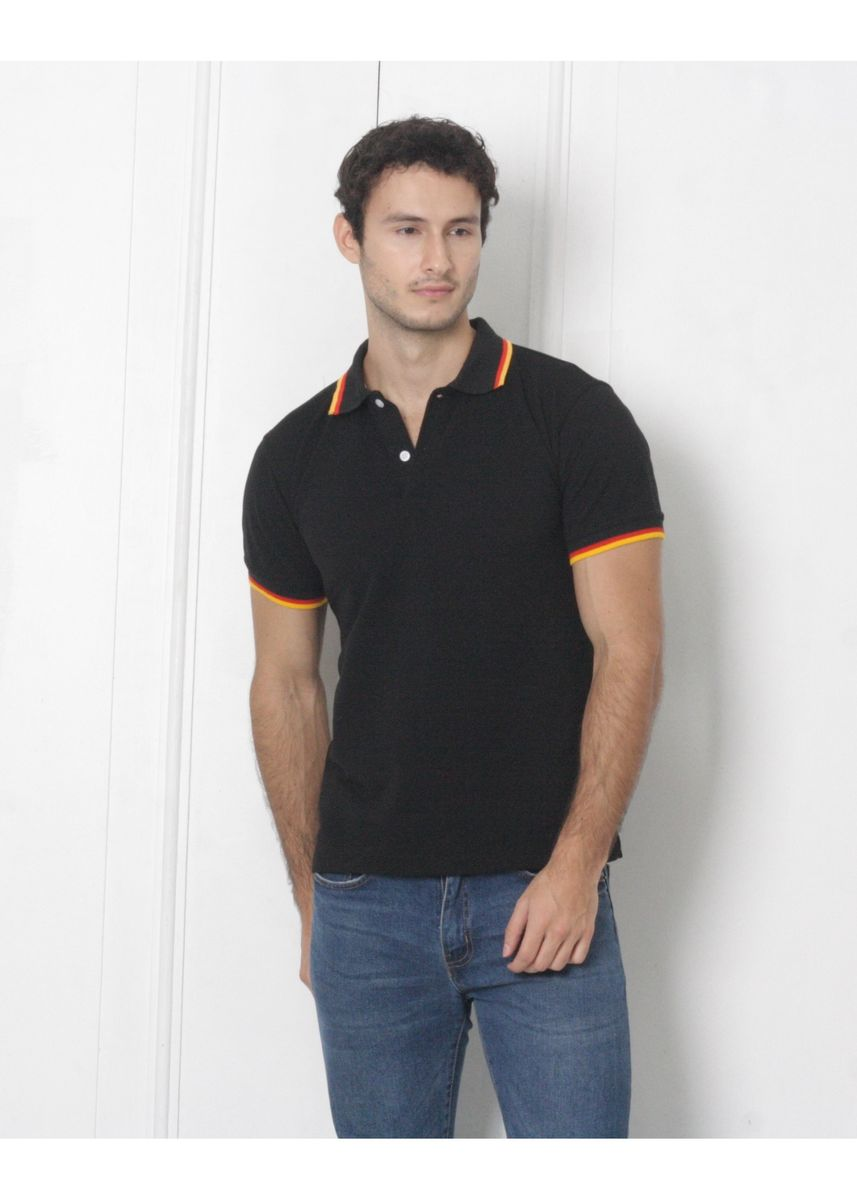 Black color T-Shirts and Polos . Men's People's Pride Polo Shirt Black w/Tipping Design -