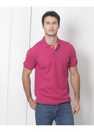 Pink color T-Shirts and Polos . Men's People's Pride Polo Shirt Plain (Magenta) -