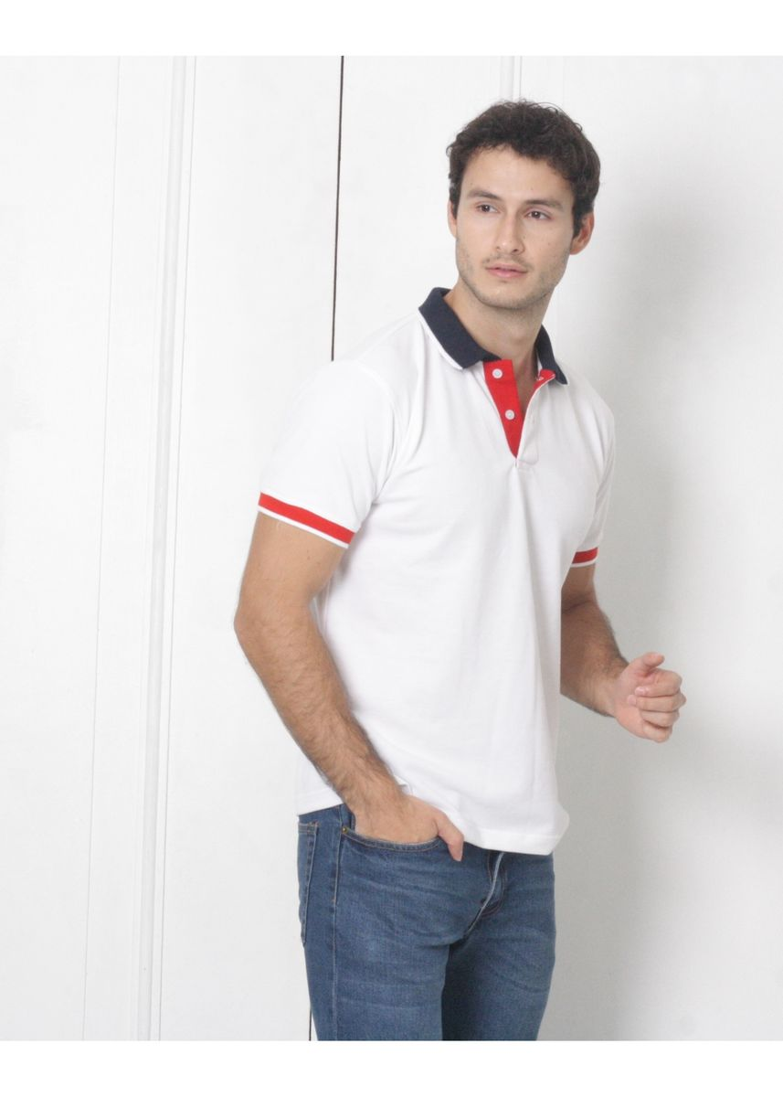 White color T-Shirts and Polos . Men's People's Pride Polo Shirt White w/ Collar & Placket Design -