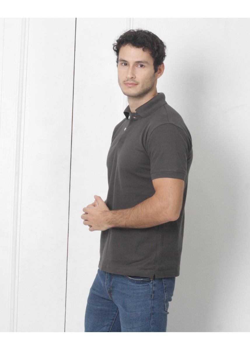 Grey color T-Shirts and Polos . Men's People's Pride Polo Shirt Plain (Dark Grey) -
