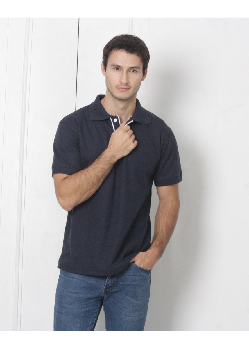 Navy color T-Shirts and Polos . Men's People Pride Polo Shirt w/Placket Design (Navy Blue) -