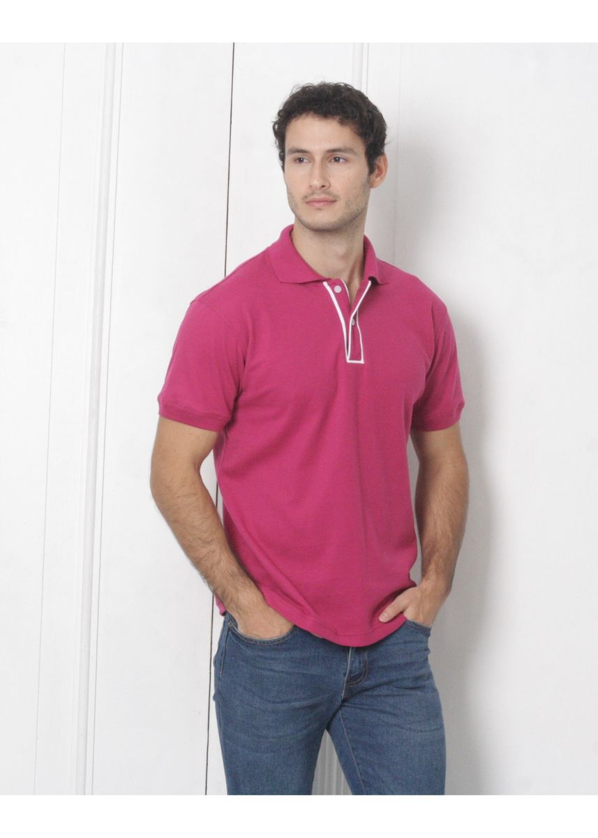 Pink color T-Shirts and Polos . Men's People's Pride Polo Shirt w/Placket Design (Magenta) -