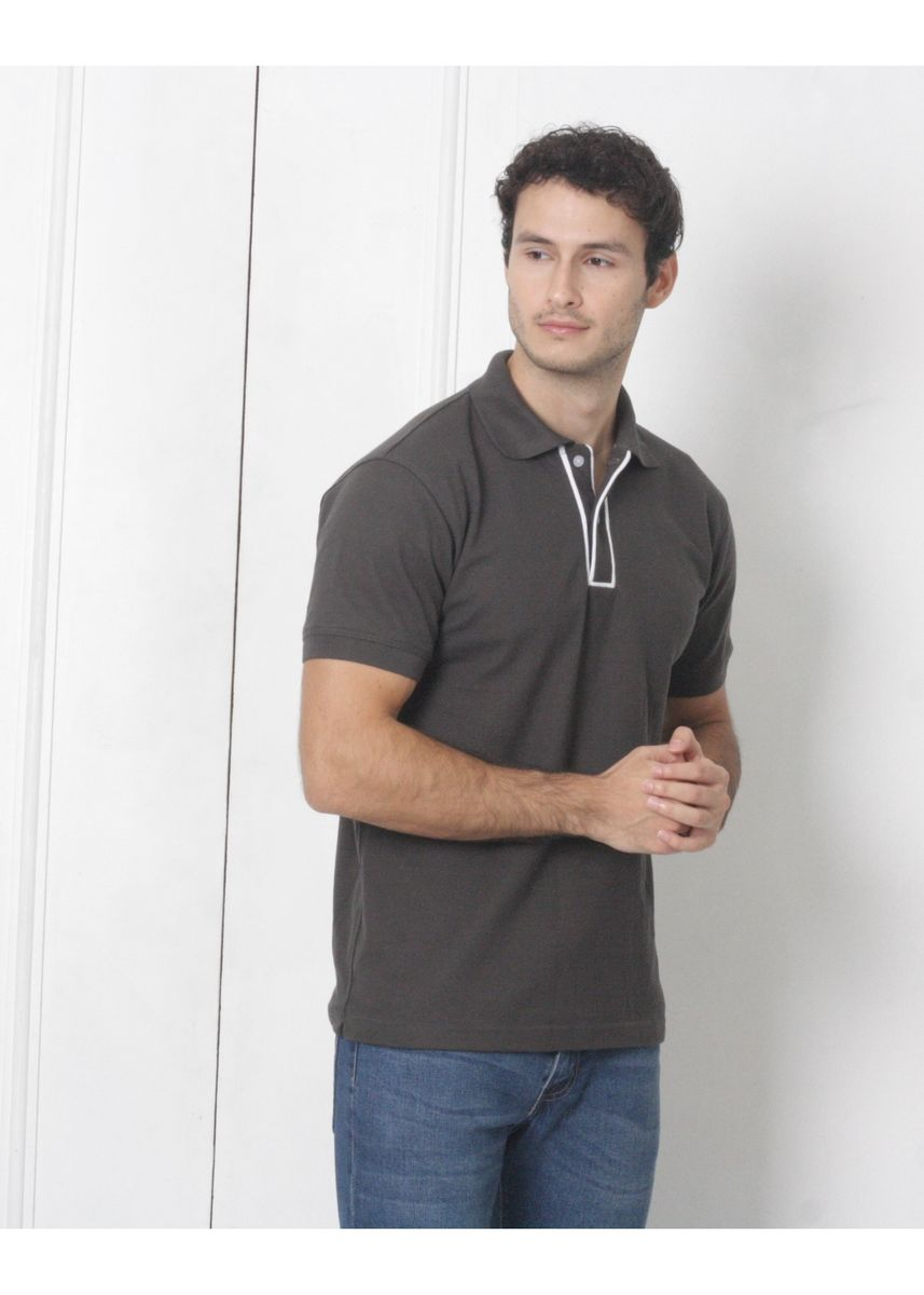 Grey color T-Shirts and Polos . Men's People's Pride Polo Shirt w/Placket Design (Dark Grey) -