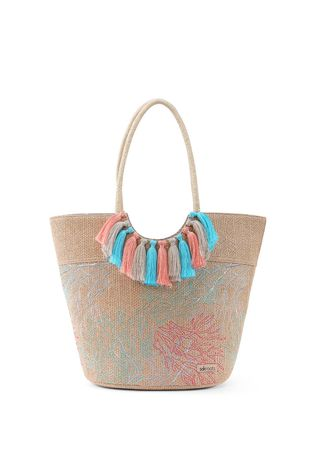 Hand Bags . Sakroots Lola Beach Bag Embroidered Coral Nation -