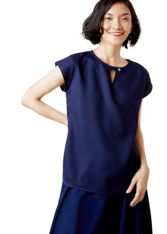 Navy color Tops and Tunics . Gwenillian Sleeve Blouse -
