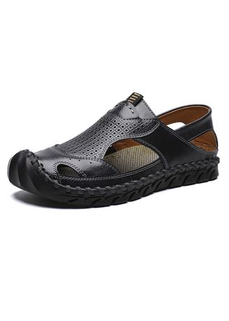 Black color Sandals and Slippers . Men's Fisherman Leather Fashion Sandals -