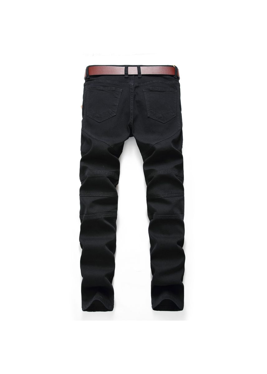 Black color Jeans . Men's Stretchy Feet White Jeans -