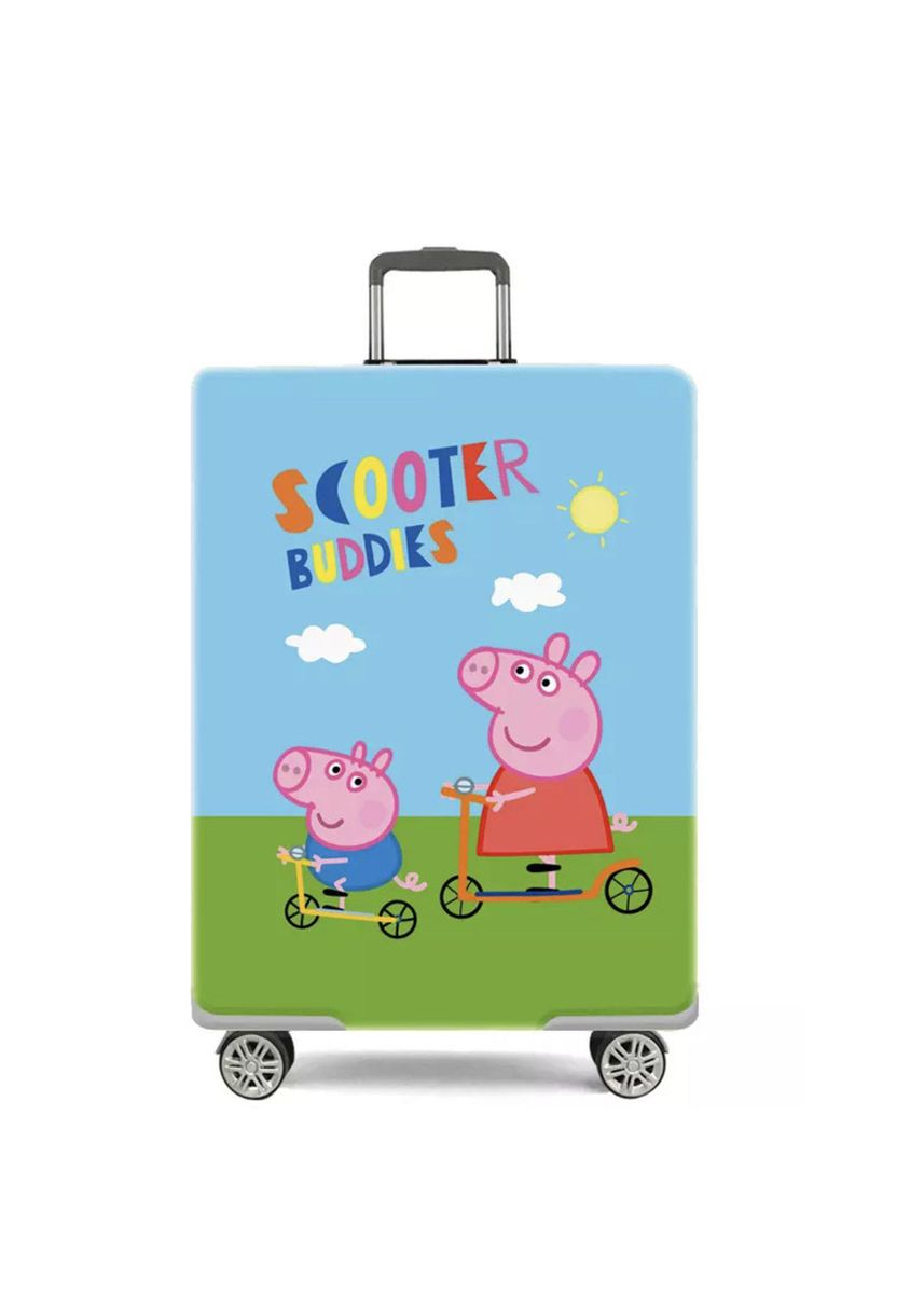 Multi color Travel Wallets & Organizers . Elastic Travel Luggage Bag Protector Cover-Peppa Pig Scooter Buddies L Size -
