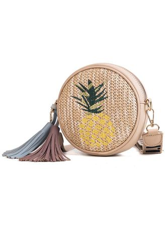 Sling Bags . Round Straw Fashion Embroidered Shoulder Bag -