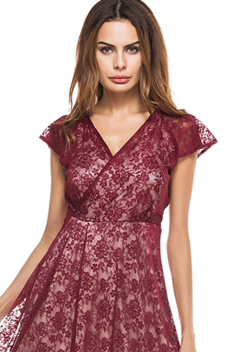 Red color Dresses . Vintage V-Neck Short-Sleeved Slim Lace Dress -