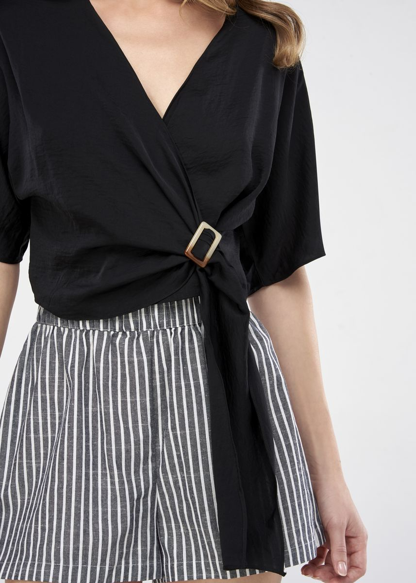 Black color Tops and Tunics . JUNE Wrap Blouse With Buckle -