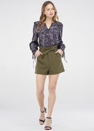 Grey color Tops and Tunics . JUNE Long Sleeve Blouse -