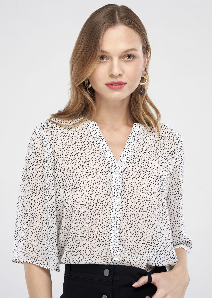 White color Tops and Tunics . JUNE Botton Front Blouse -