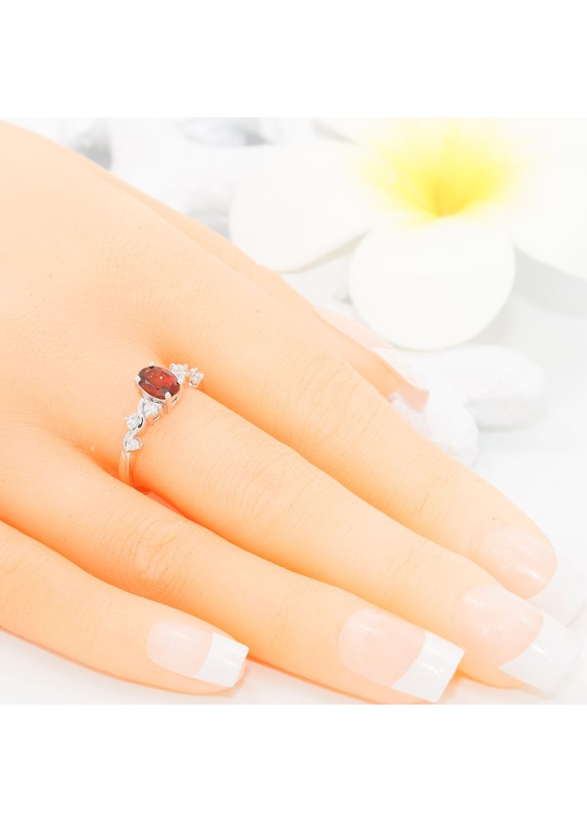 Maroon color  . AVALON GARNET Ring with Zirconium set with Sterling Silver 925 Rhodium plated R3149GN -