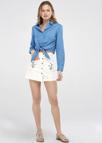 Blue color Tees & Shirts . Long Sleeve Tie Front Shirt -