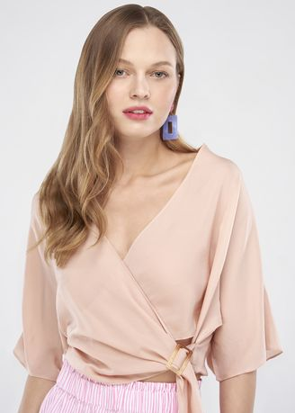 Pink color Tops and Tunics . Wrap Blouse With Buckle -