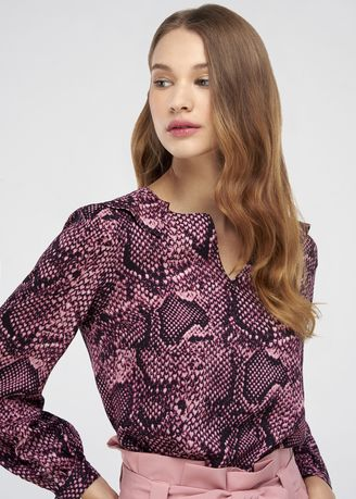 Tops and Tunics . Snake Print Long Sleeve Blouse -