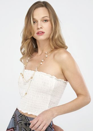 White color Tops and Tunics . Smocked Bodice Embroidery Tube Top -