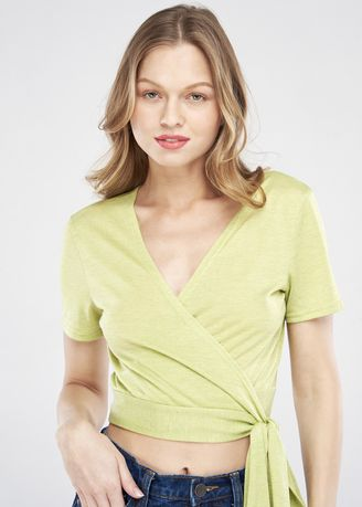 Yellow color Tops and Tunics . Front Wrap Top -