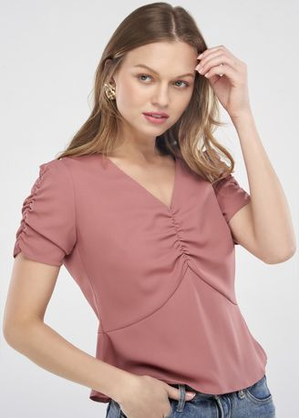 Tops and Tunics . V-Neck Peplum Top - Pink -