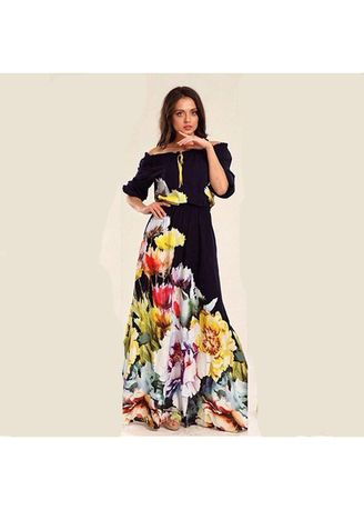Multi color Dresses . New Long Floral Print One-neck Dress -