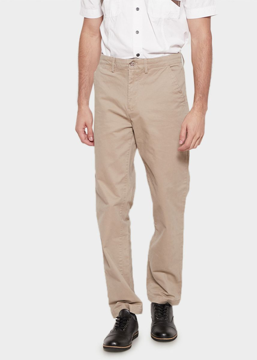 Khaki color Casual Trousers and Chinos . Emba Classic Arion One Men's Pants in Beige -