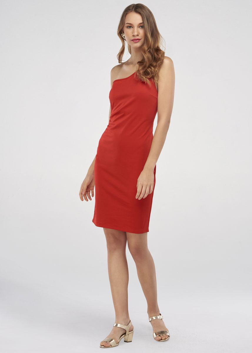 Red color Dresses . JUNE Fitted Jersey Dress -