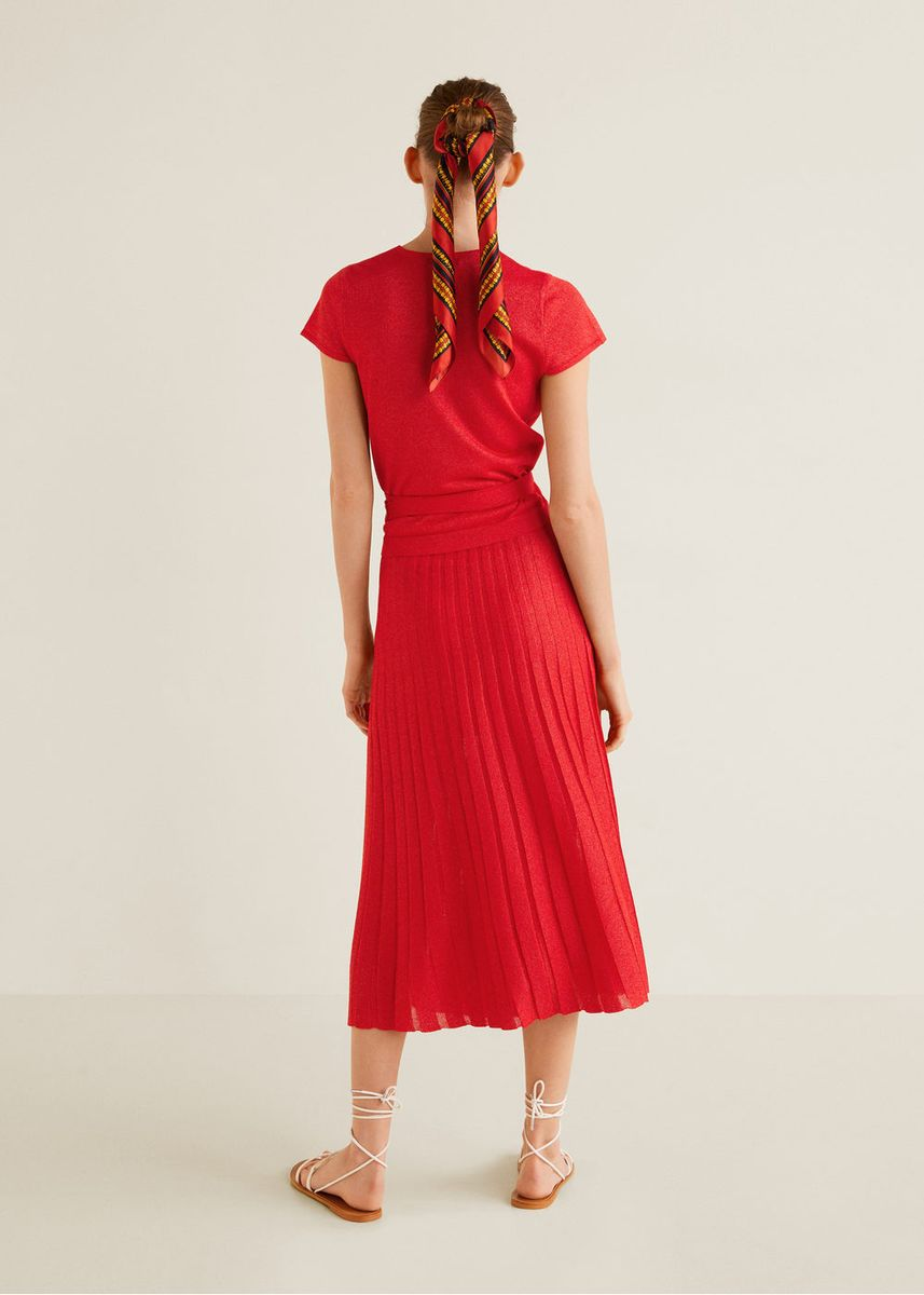 Red color Skirts . Mango Pleated Knit Skirt -