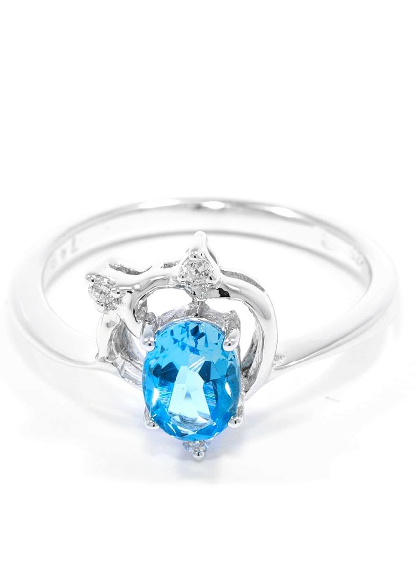 Blue color  . AVALON Solitaire Genuine Natural Swiss Blue Topaz Ring in Sterling Silver 925 Rhodium plated Finish Sizes 5 to 9 -