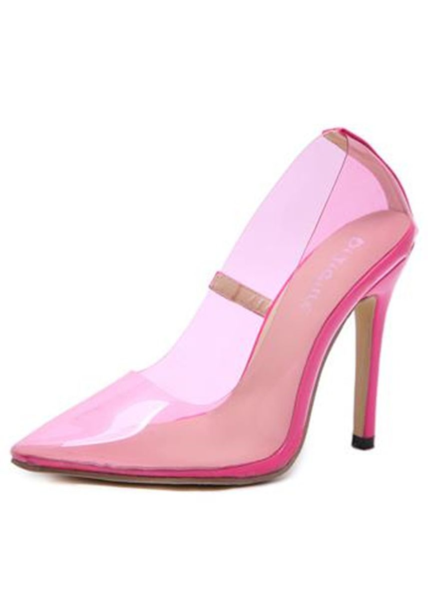 Pink color Heels . Pointed Transparent High-heeled Shoes -