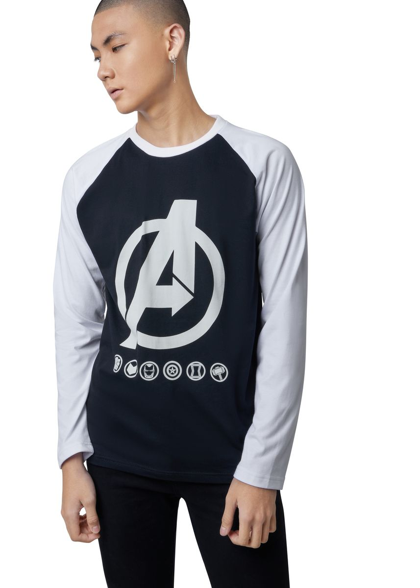 Black color T-Shirts and Polos . Official Marvel's Avengers Logo Long Sleeve Shirt -