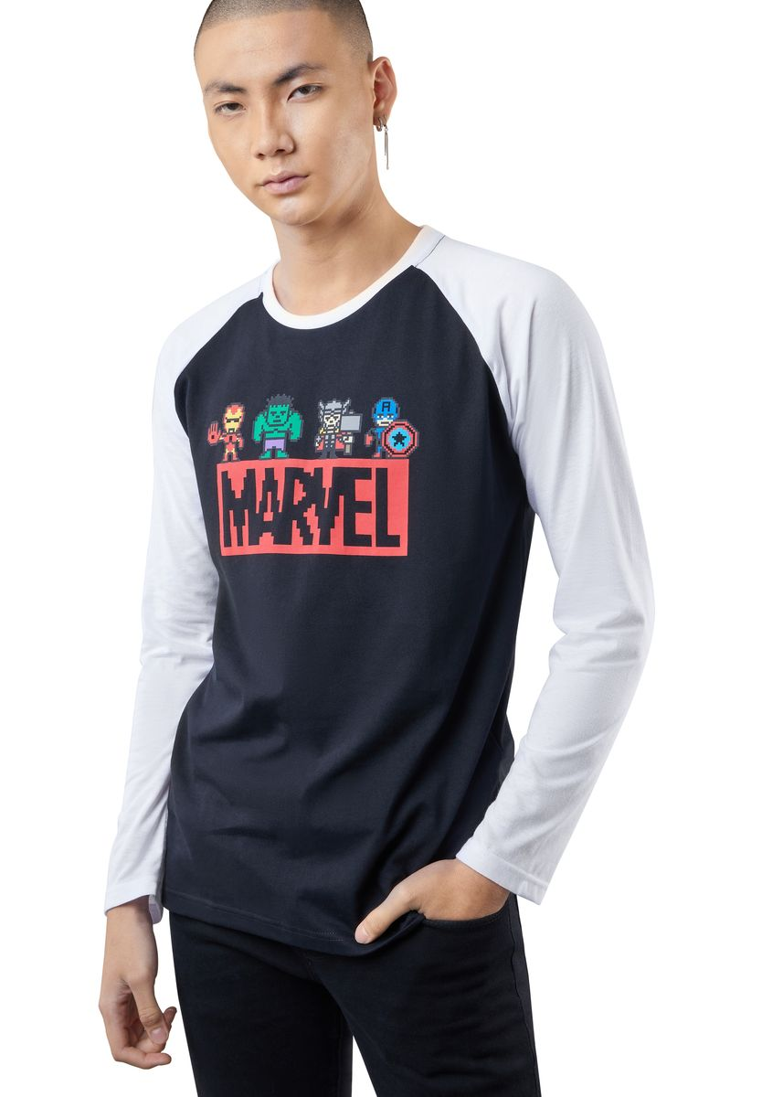 Black color T-Shirts and Polos . Official Mini Marvel Long Sleeve Shirt -
